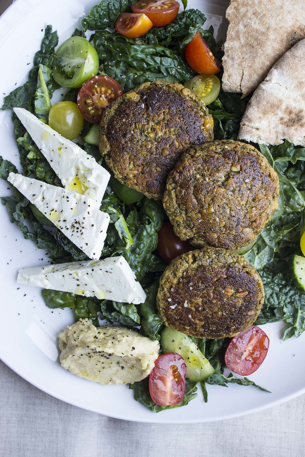 Baked Green Falafel and Greek Salad | Image: Laura Messersmith