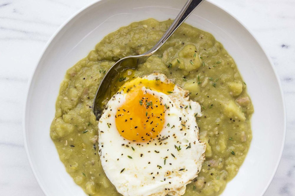 Split Pea Soup with Fried Egg | Image: Laura Messersmith