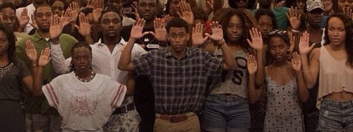 Protests about the Ferguson shooting by Howard University students. Photo Credit: Debra Sweet.