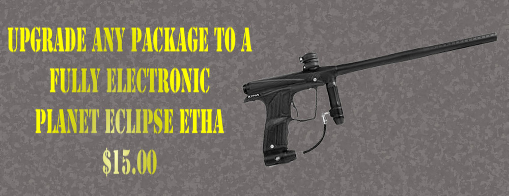 Upgrade any rental package with a fully electronic Planet Eclipse Etha marker for only $15.00!!!!
