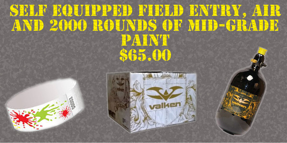 Includes entrance fee, unlimited CO2 or HPA for the day and 2000 round case of paintballs! (while supplies last)