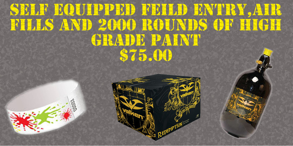 Includes entrance fee, unlimited CO2 or HPA for the day and 2000 round case of Premium paintballs!