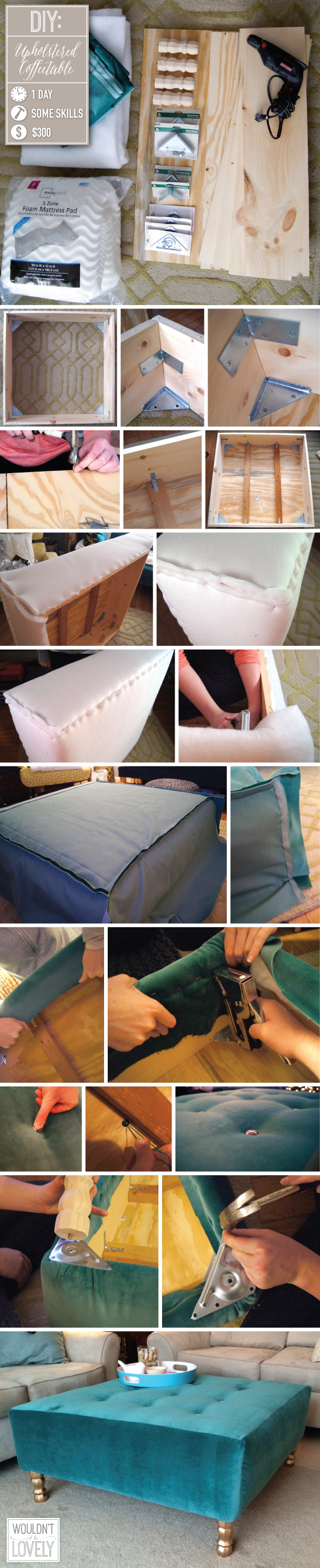 DIY upholstered ottoman coffee table