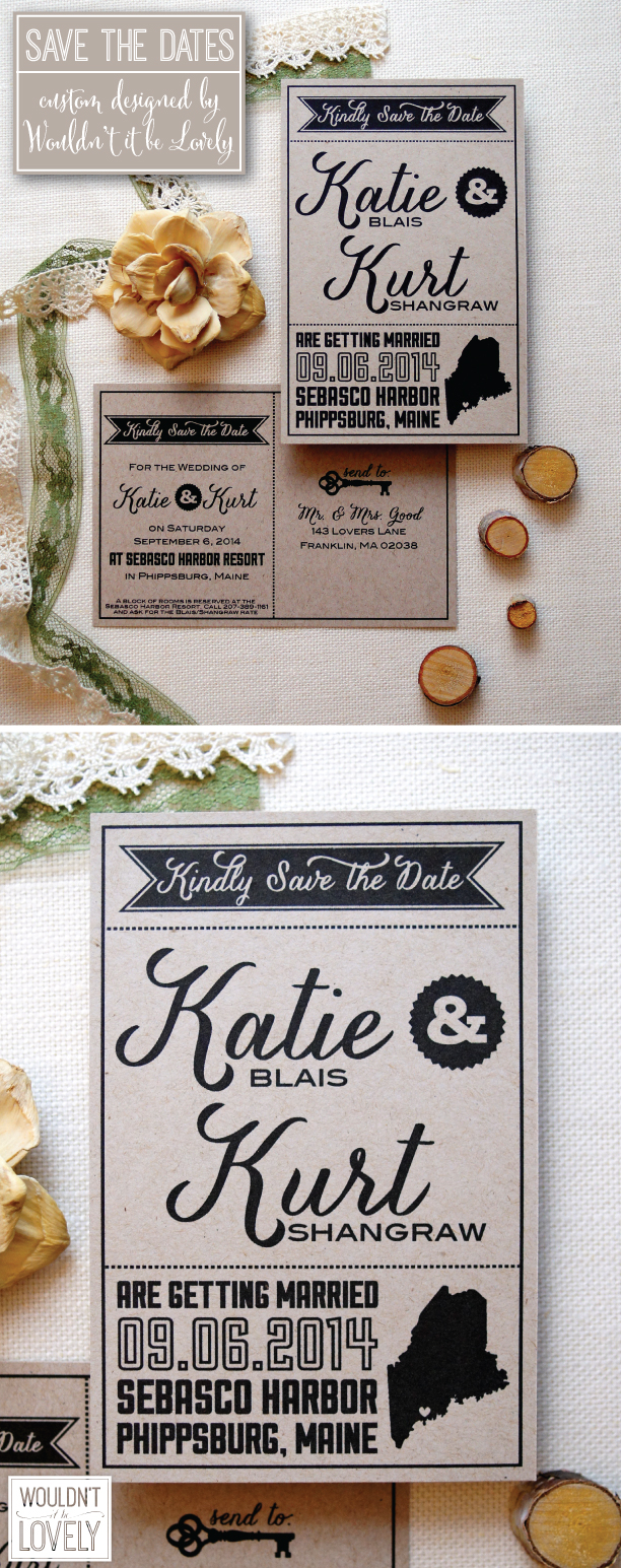 Custom kraft paper save the date postcards