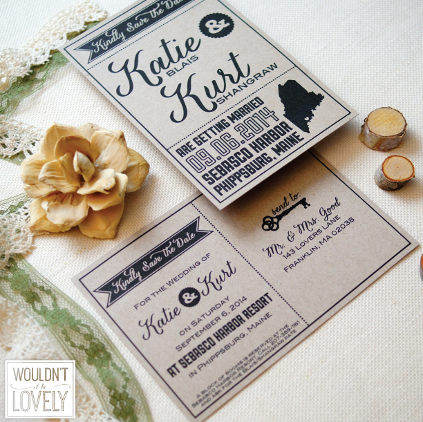 custom designed kraft save the dates