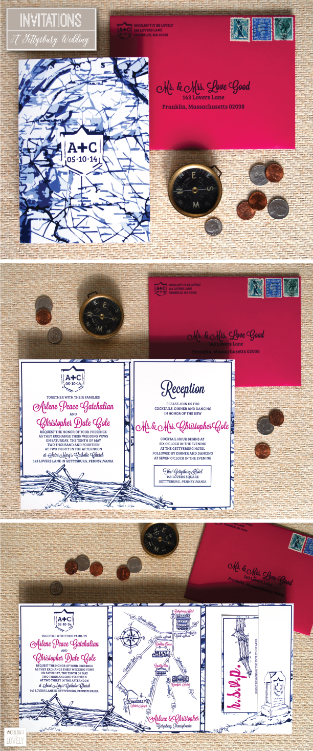 gettysburg pa wedding invitation suite