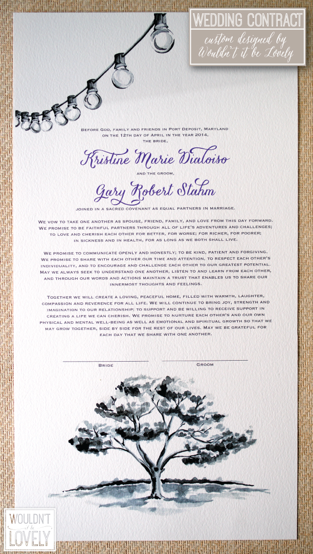 Custom designed wedding contract