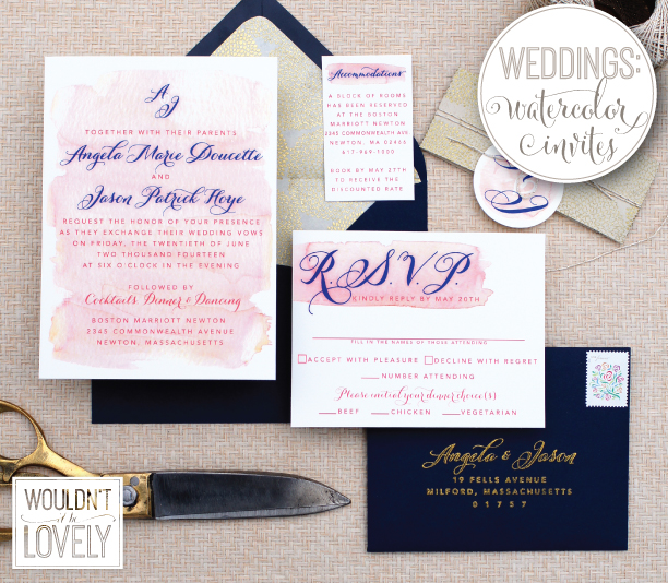 blush and navy watercolor wash wedding invitation suite