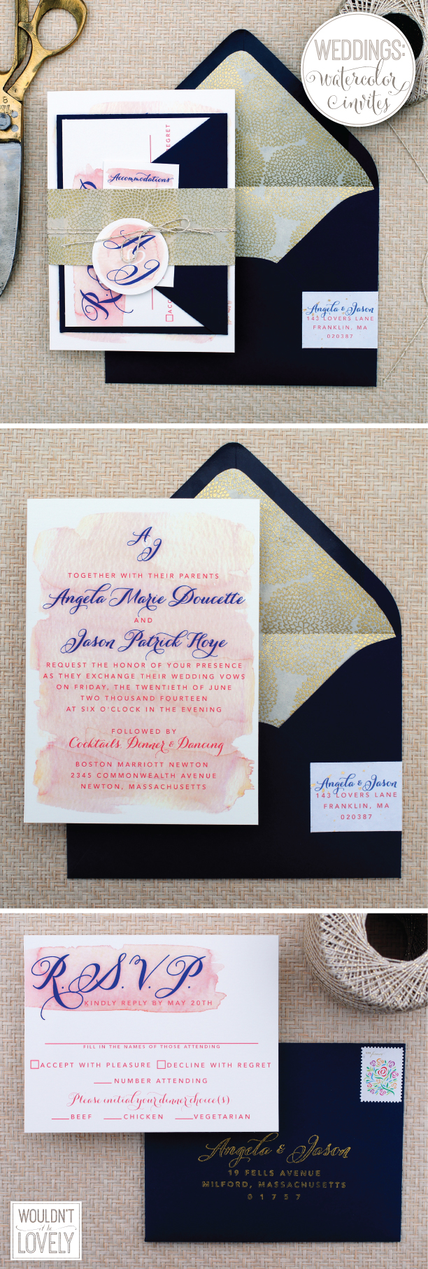 pink and navy watercolor wash wedding invites