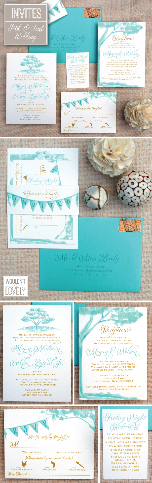 gold and teal wedding invites
