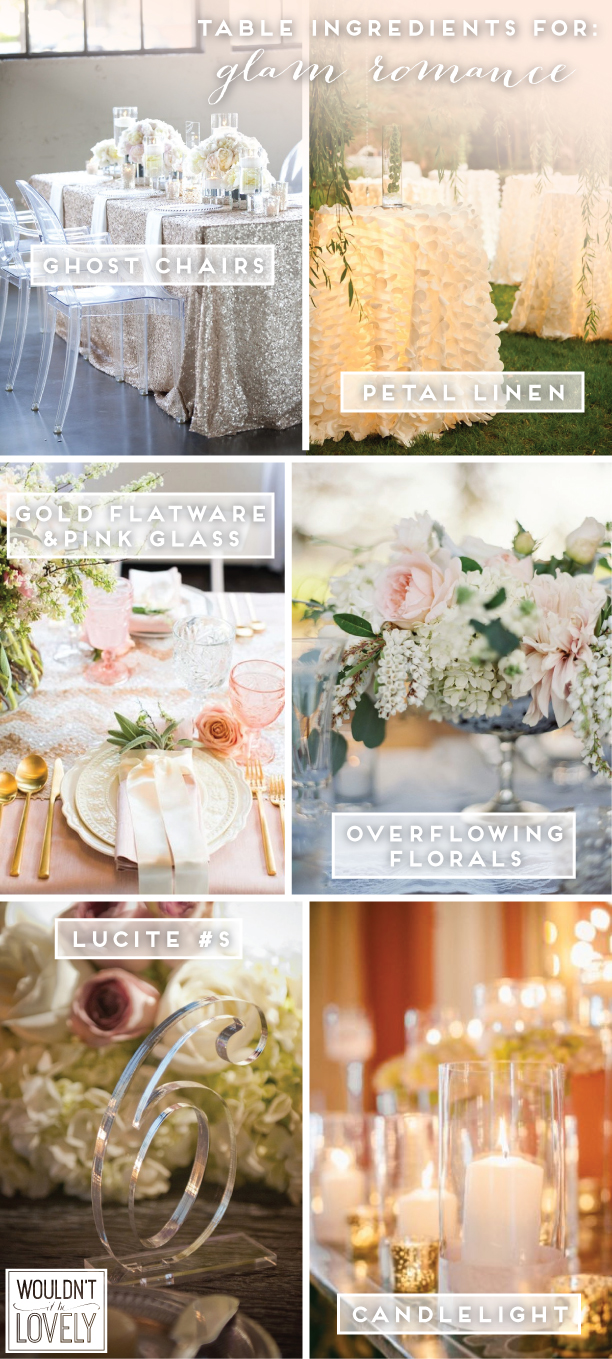 1.  Ghost Chairs   2.  Petal Linen   3.  Gold Flatware & Pink Glass   4.  Overflowing Florals   5.  Lucite #s   6.  Candlelight
