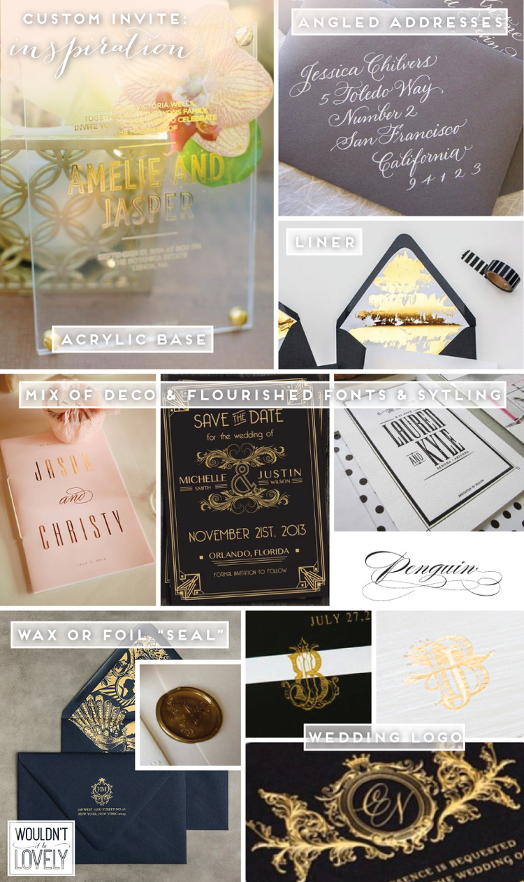 Design process custom wedding save the dates wouldnt it be lovely acrylic base angled addressesgold liner pink program black and gold stopboris Gallery