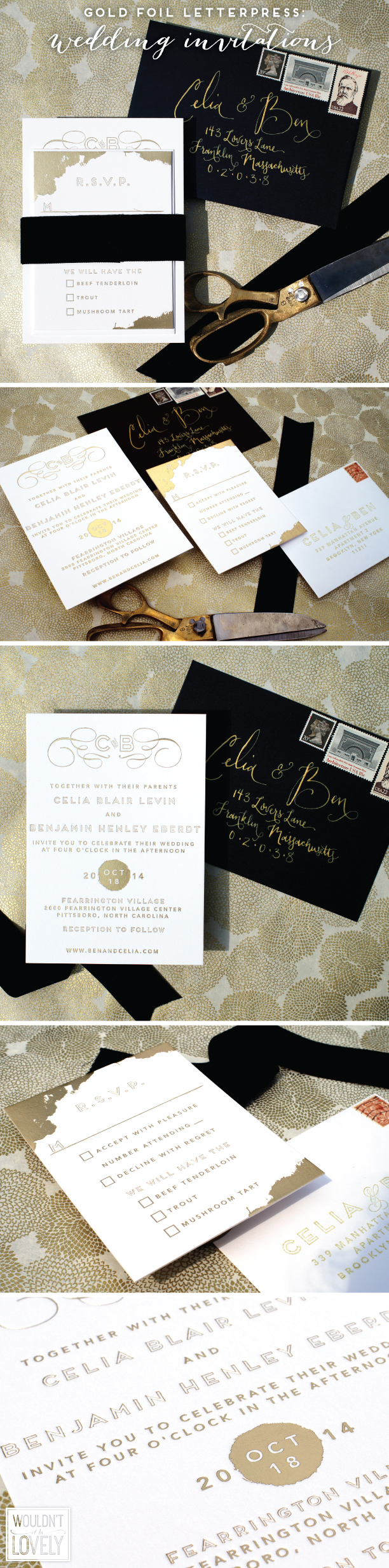 Custom Designed Gold Foil Letterpress Wedding Invitations