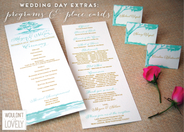 teal and gold programs and place cards