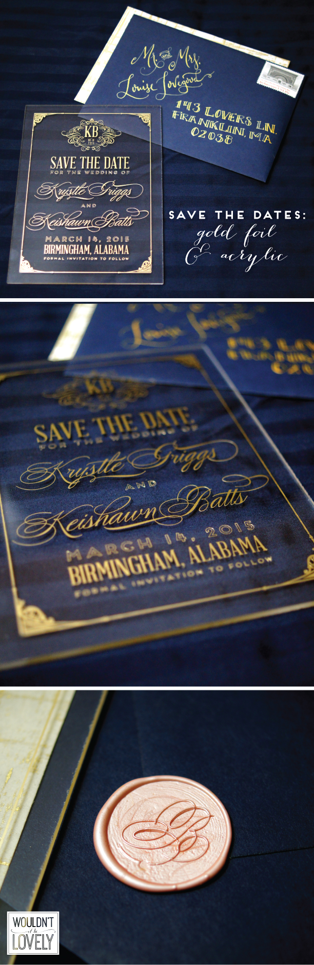 gold and acrylic wedding save the dates, wedding invites
