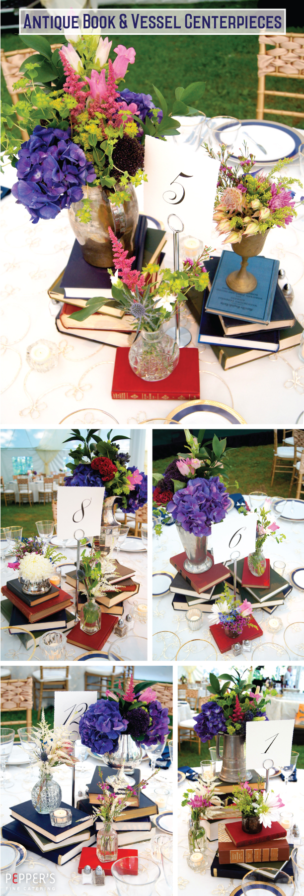book and flower centerpieces