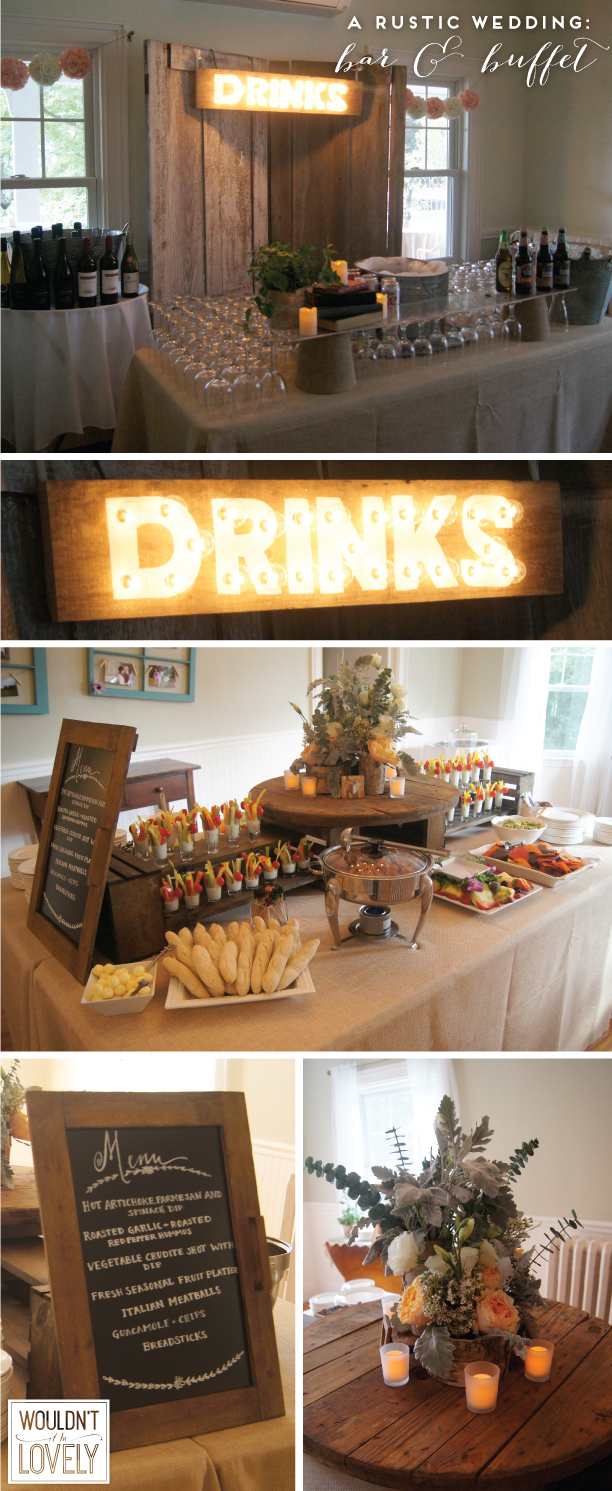 Rustic Wedding Bar and Food Display Table