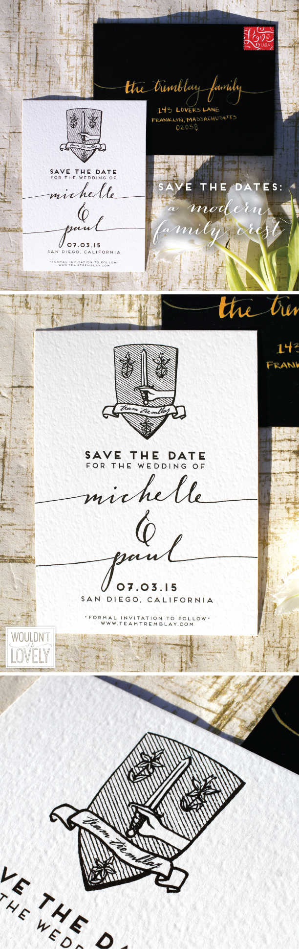 custom designed family crest wedding save the dates