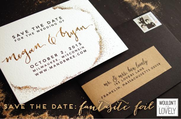 custom wedding save the date with patterned gold foil, white black and gold