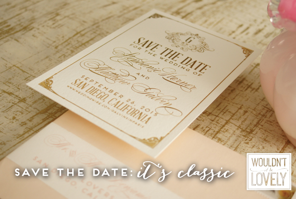 Gold white and blush custom wedding save the date