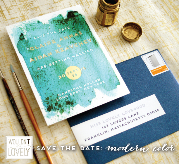 teal and gold wedding save the date watercolor wash