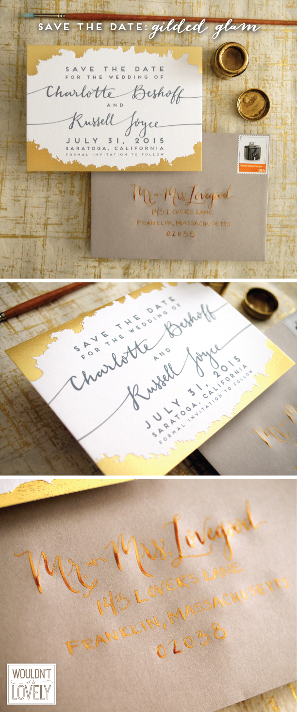 gold foil, white and grey wedding save the date, custom designed, modern
