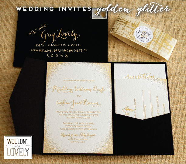 Glittery gold custom wedding invitation suite wouldnt it be lovely white gold and black custom designed wedding invitation suite gold foil filmwisefo