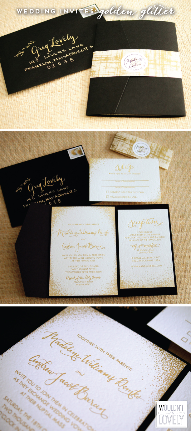 white black and gold custom wedding invitation suite