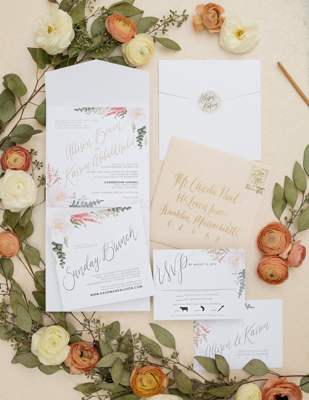 Blush Floral Square Wedding Invitations — Wouldn\'t it be Lovely