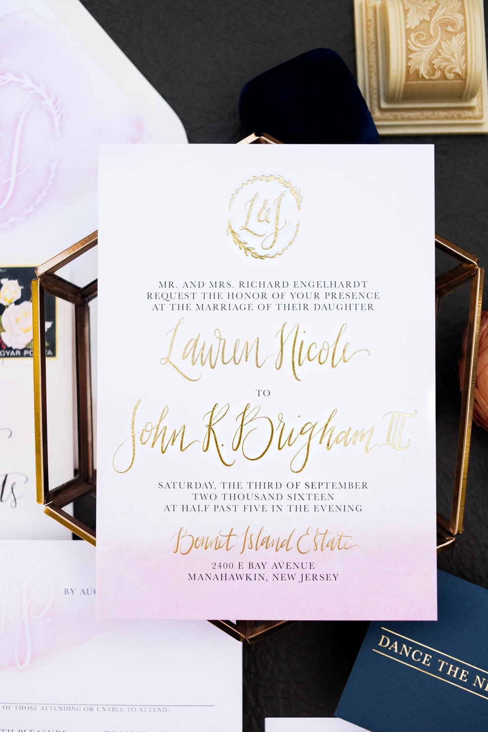 Blush Ombre and Gold Foil Wedding Invitations — Wouldn\'t it be Lovely