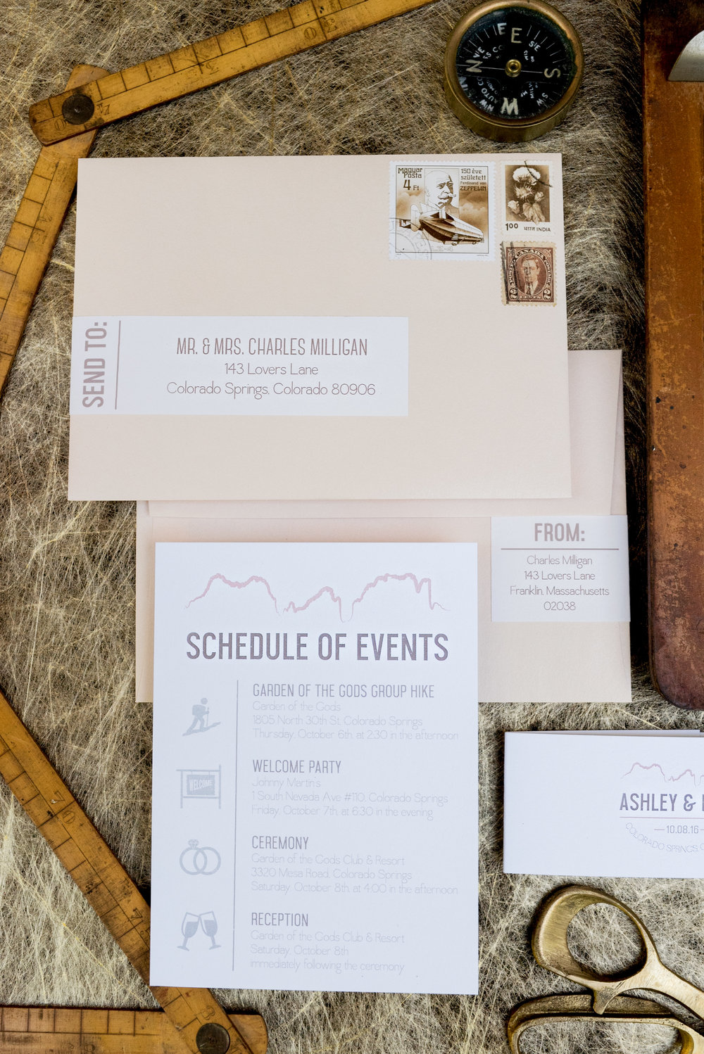 Graphic Mountain Wedding Invitations — Wouldn\'t it be Lovely