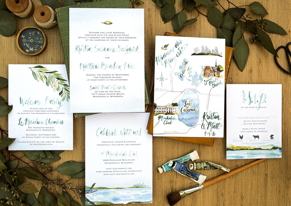 lake and leaves wedding invitations