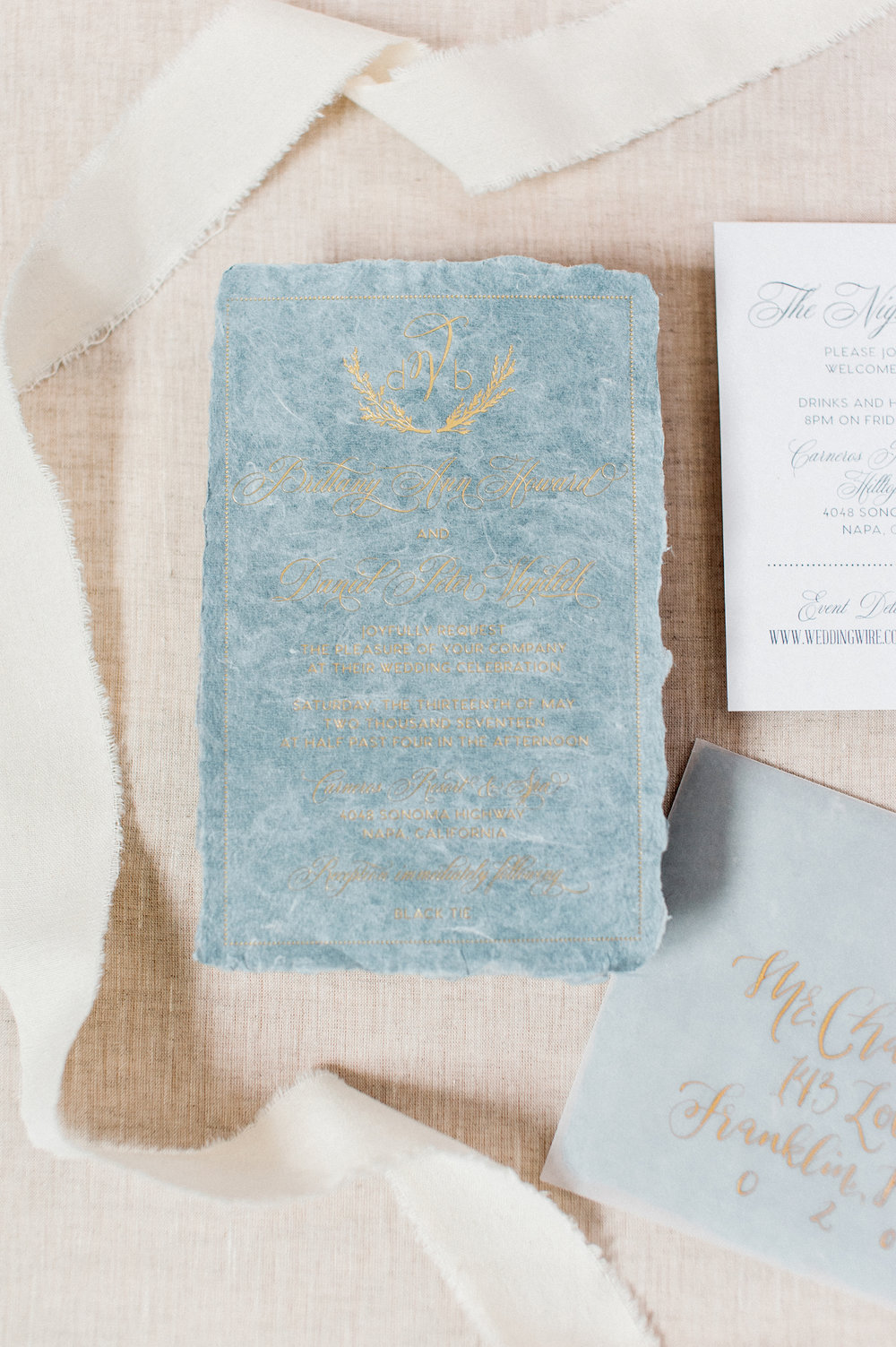 Handmade Paper and Gold Foil Wedding Invitations — Wouldn\'t it be Lovely