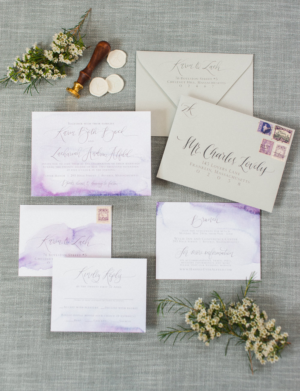 Lavender & Grey Watercolor Wedding Invitations — Wouldn\'t it be Lovely