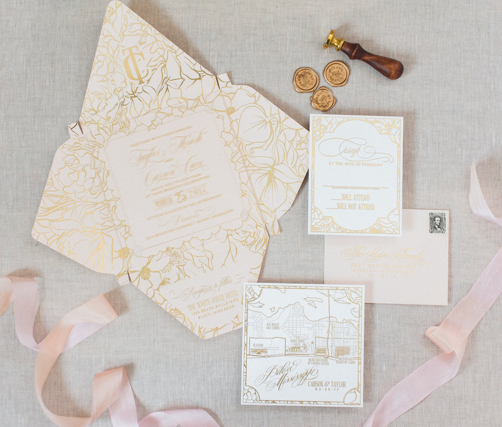 Acrylic Blush & Gold Boxed Custom Wedding Invitation — Wouldn\'t it ...