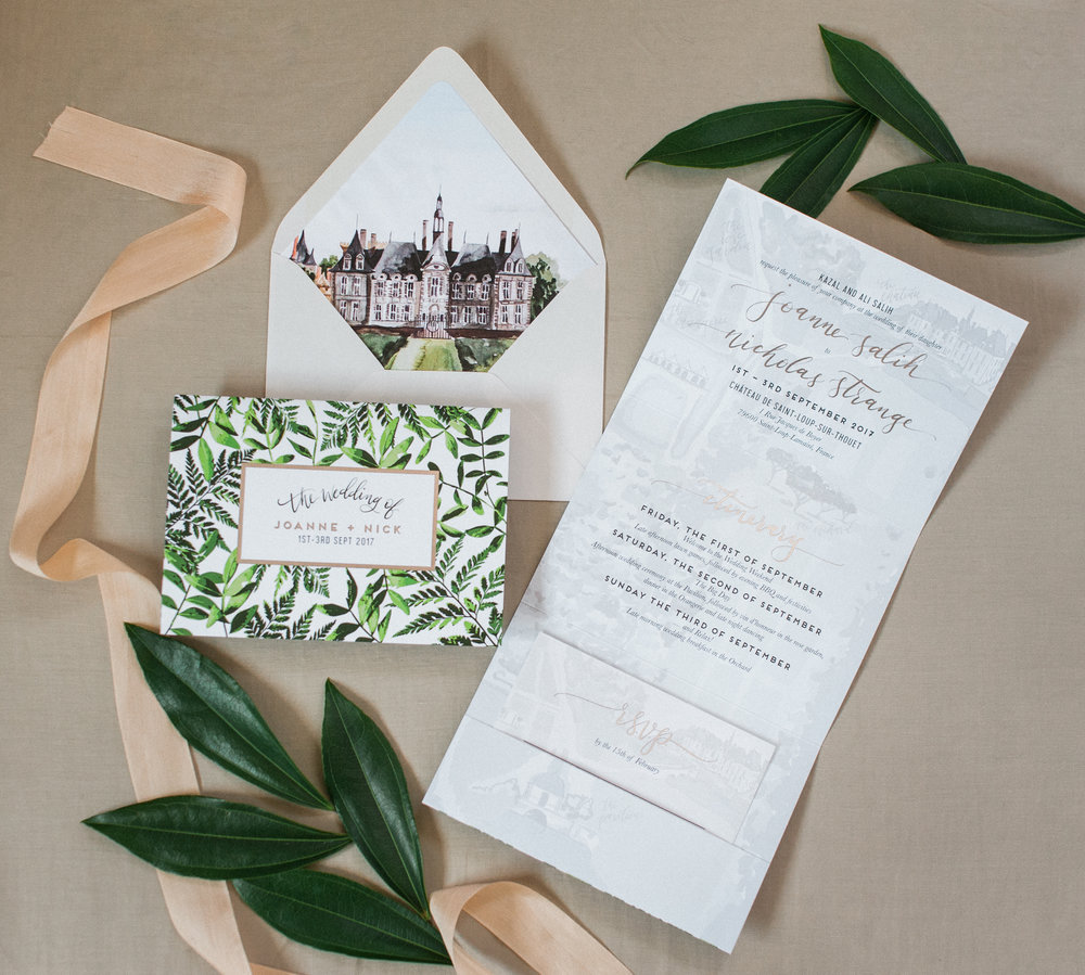 MODERN GREENS WITH CHATEAU CUSTOM WATERCOLOR TRI-FOLDING WEDDING INVITATION