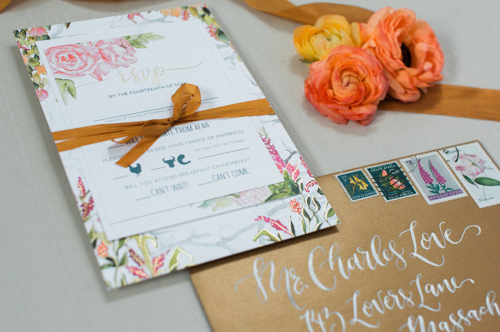 WATERCOLOR FLORAL AND GOLD FOIL WEDDING INVITATIONS