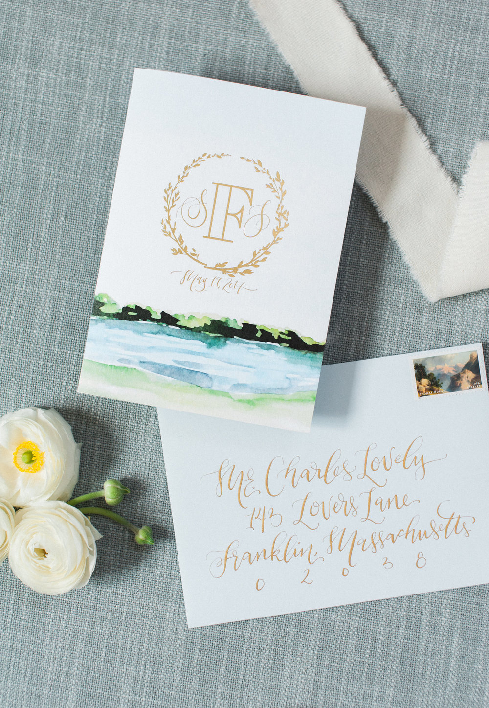 LAKESIDE WATERCOLOR + GOLD FOIL WEDDING INVITATIONS