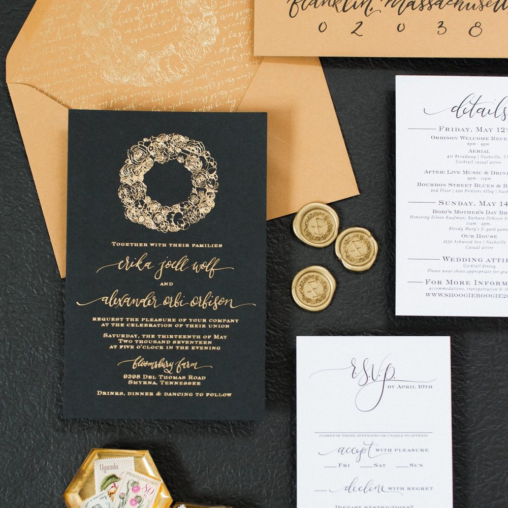 BLACK, GOLD & CARAMEL CREST WEDDING INVITATION