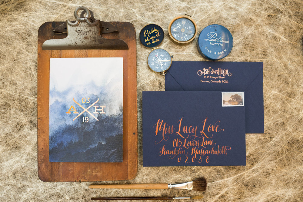 SKI MOUNTAIN COLORADO DEEP BLUE + COPPER WEDDING INVITATION