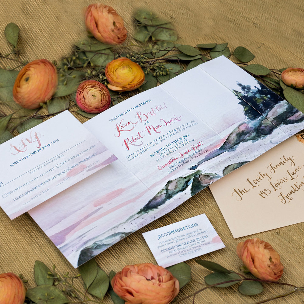 NORTHWEST WATERCOLOR TRI-FOLD WEDDING INVITATION
