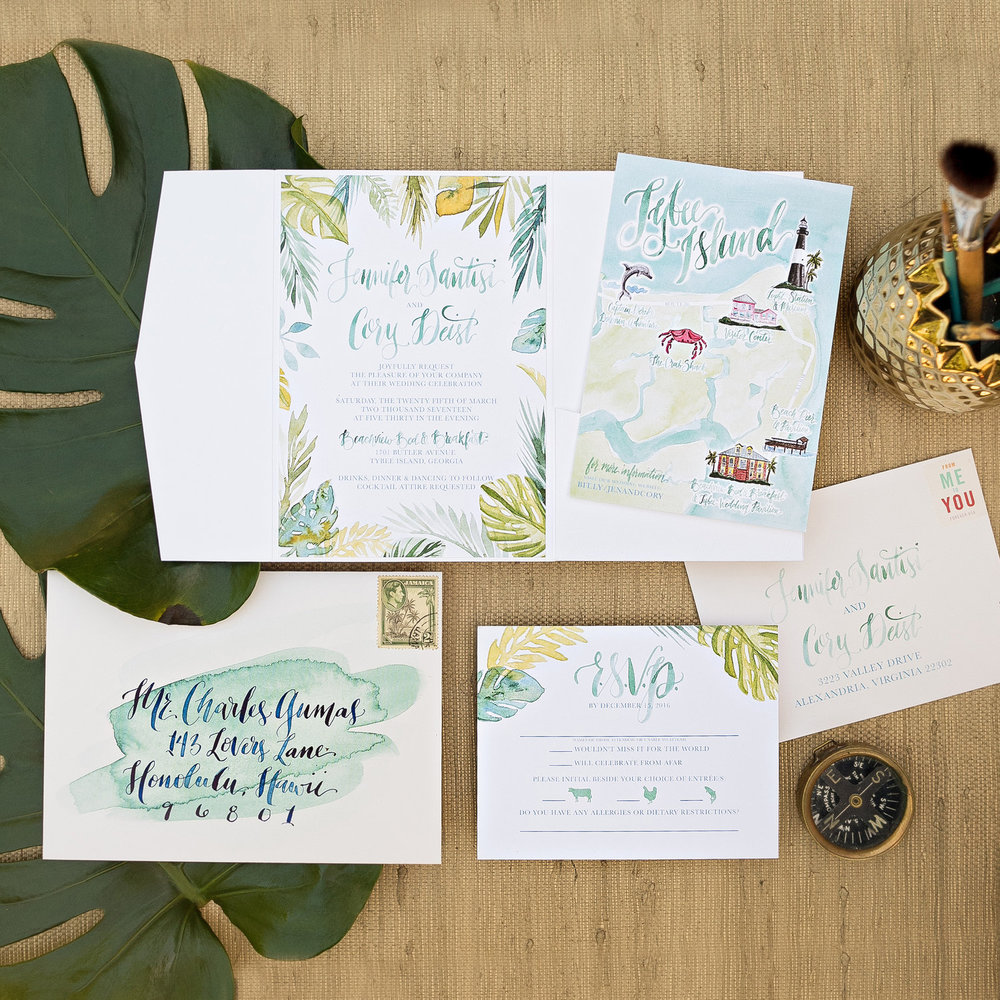 TROPICAL BOTANICAL WATERCOLOR WEDDING INVITATIONS