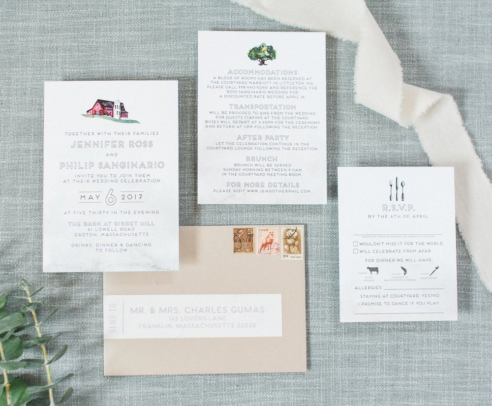 GIBBET HILL WATERCOLOR ELEMENTS WEDDING INVITATIONS