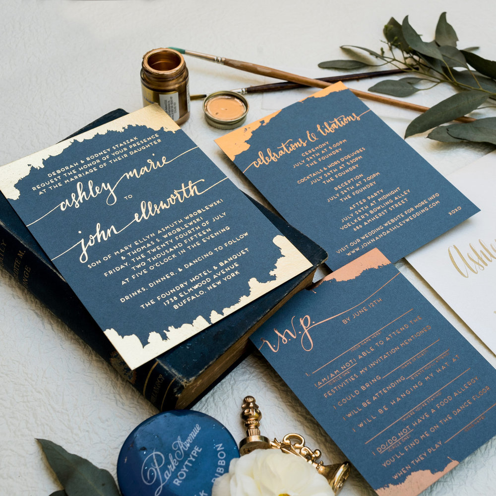 BLUE PAINTED AND GOLD BRONZE AND COPPER FOIL MIXED METAL WEDDING INVITATIONS