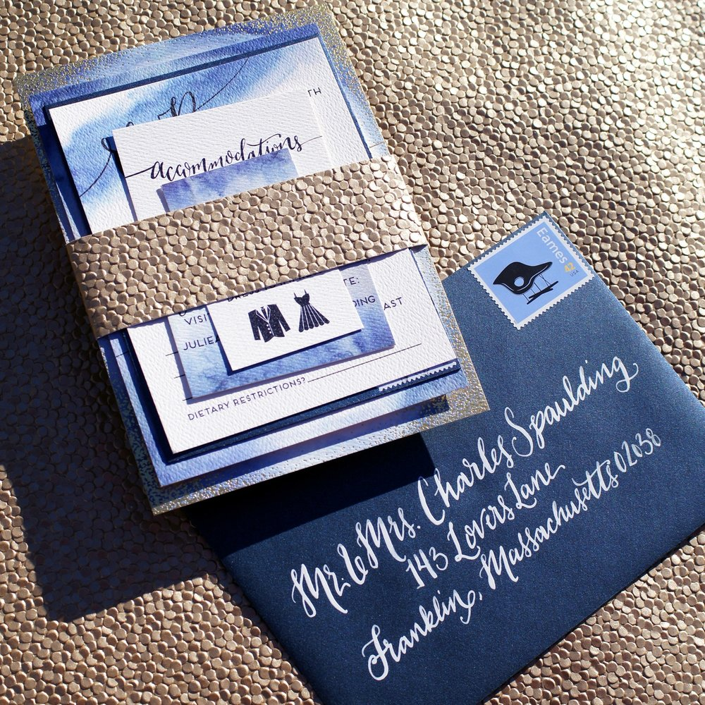GOLD DOT AND BLUE WASH WATERCOLOR INVITATIONS