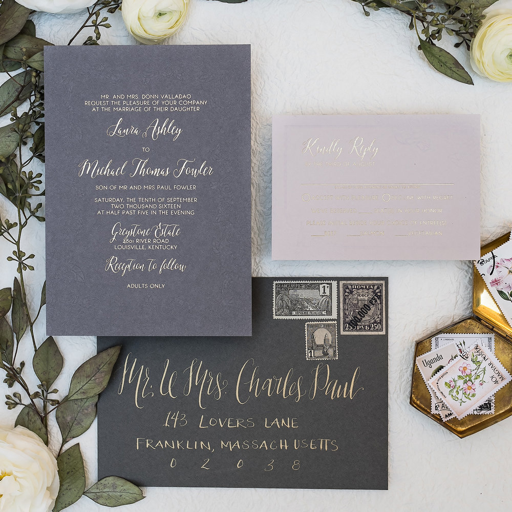 FLORAL BLIND EMBOSS AND GOLD FOIL WEDDING INVITATIONS