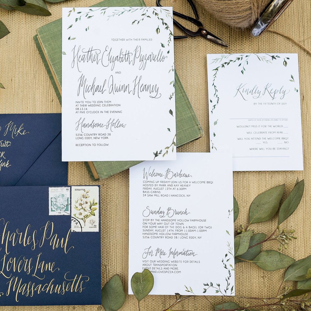 LITTLE LEAVES WATERCOLOR DETAILED WEDDING INVITATIONS