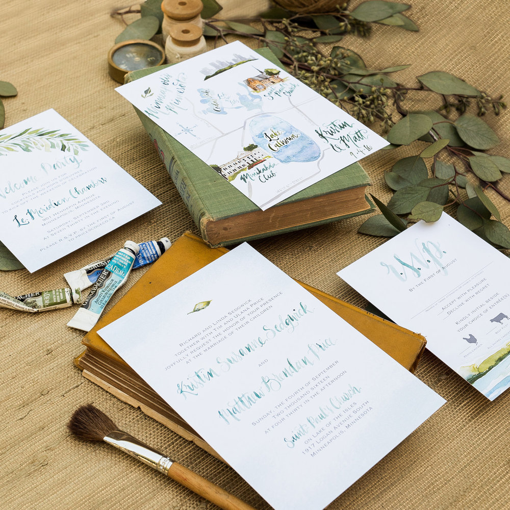 LAKE & LEAVES WATERCOLOR WEDDING INVITATIONS