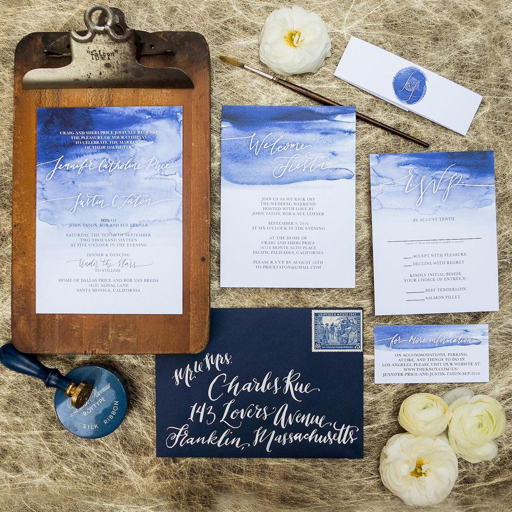 BLUE WATERCOLOR TOP WASH WEDDING INVITATIONS