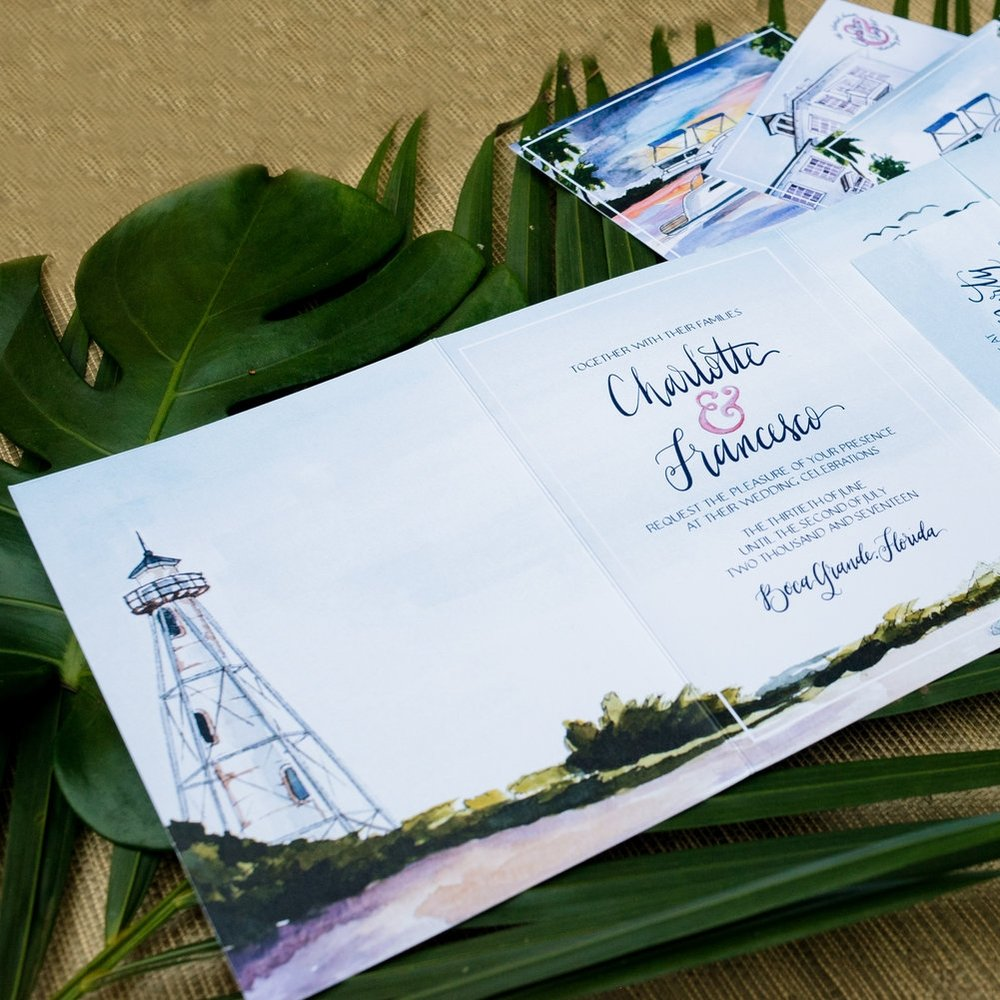 BOCA GRANDE GASPARILLA INN ISLAND WATERCOLOR TRI-FOLD WEDDING INVITATIONS